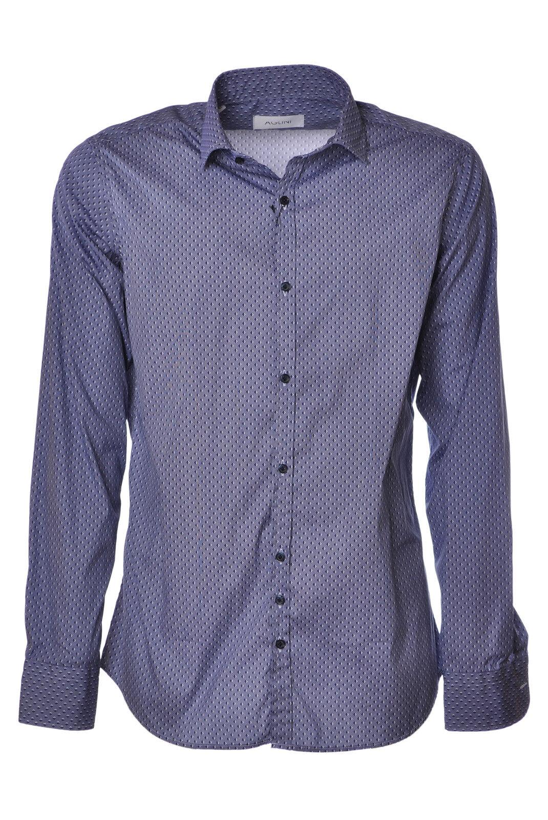 Aglini - Blusen-Shirt - Mann - Blau - 2703827M184935
