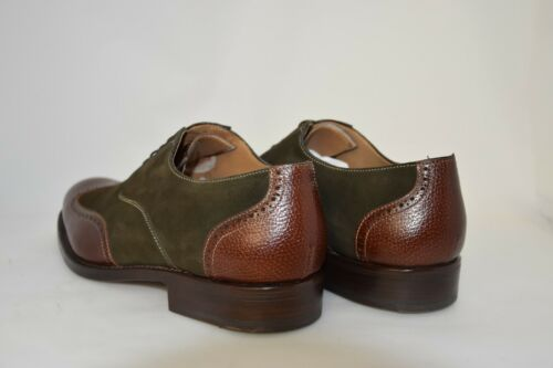 oxford Suede Calf brown Men Green Wingtip 9eu Sole leather 10usa w0fx0qSE