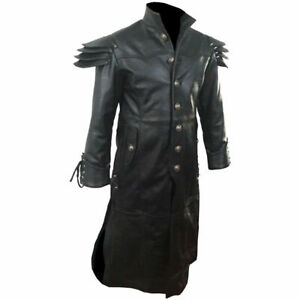 Mens Real Black Leather Trench Coat Steampunk Duster Winter Motorbike Jacket