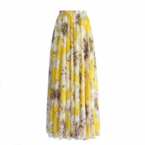 Women Chiffon Floral High Waist Maxi Holiday Long Skirt Skater Flared Pleated