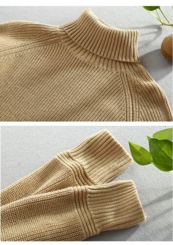 Men/'s Turtleneck Sweater Warm Knitted Slim Knitwear Cotton Tops Jumper Pullover