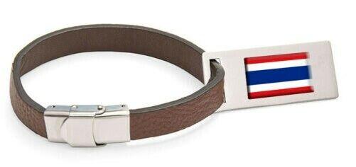 Thailand Drapeau Cuir Étiquette de Bagage Acier Texte Gravé