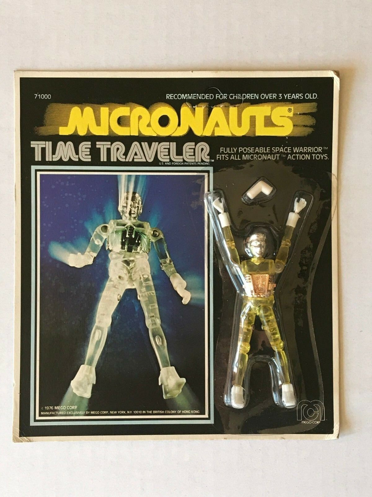 1976 MEGO Micronauts Time Traveler Yellow - Unpunched Card