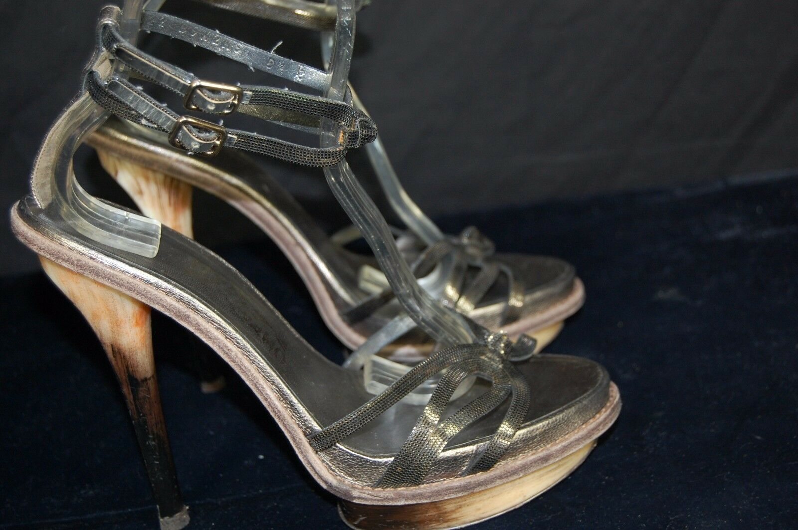 SALVATORE FERRAGAMO     ANKLE STRAP HIGH HEEL WOMEN METALLIC CHAIN SANDALS 8.5 C 2ebe0e