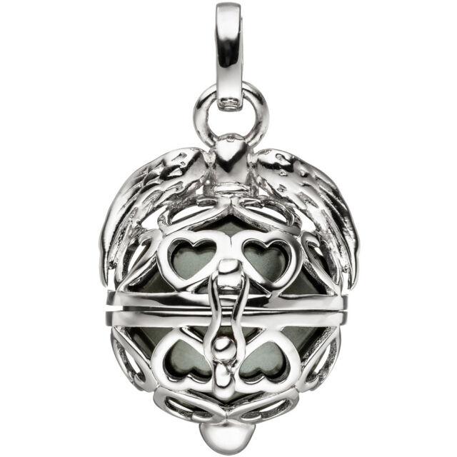 JOBO Anhänger Kugel zum Öffnen Herz Flügel 925 Sterling Silber mit dunkler Perle