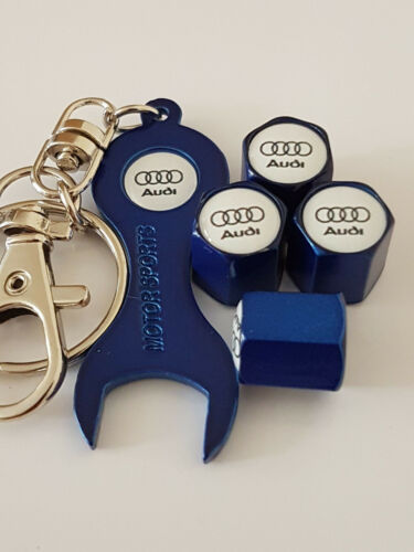 AUDI WHITE TOP BLUE DUST VALVE CAPS /& SPANNER ALL MODELS RETAIL PACK Q5 R8 A4
