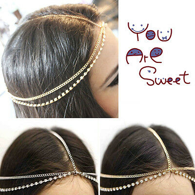 Women Double Layers Rhinestone Head Chain Jewelry Headband Head Piece Hair Band