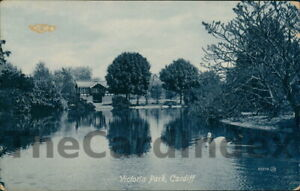 CARDIFF-CAERDYDD-Victoria-Park-Lake-Pool-Postcard-GLAMORGANSHIRE-Valentine-039-s