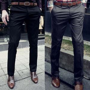 Men-039-s-Formal-Business-Slim-Fit-Suit-Dress-Pants-Elastic-Casual-Long-Trousers