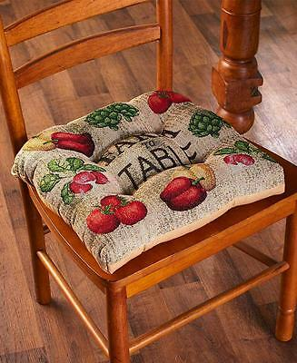 """COUNTRY KITCHEN 16"""" SQUARE FARM TO TABLE TAPESTRY CHAIR PAD CUSHION"""