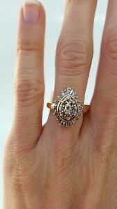 Women-039-s-Vintage-14K-Yellow-Gold-Pear-Cocktail-Statement-Diamond-Ring-Sz-6-75
