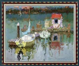 """Hand-painted Original Oil painting art Landscape boat house on Canvas 30""""X40"""""""