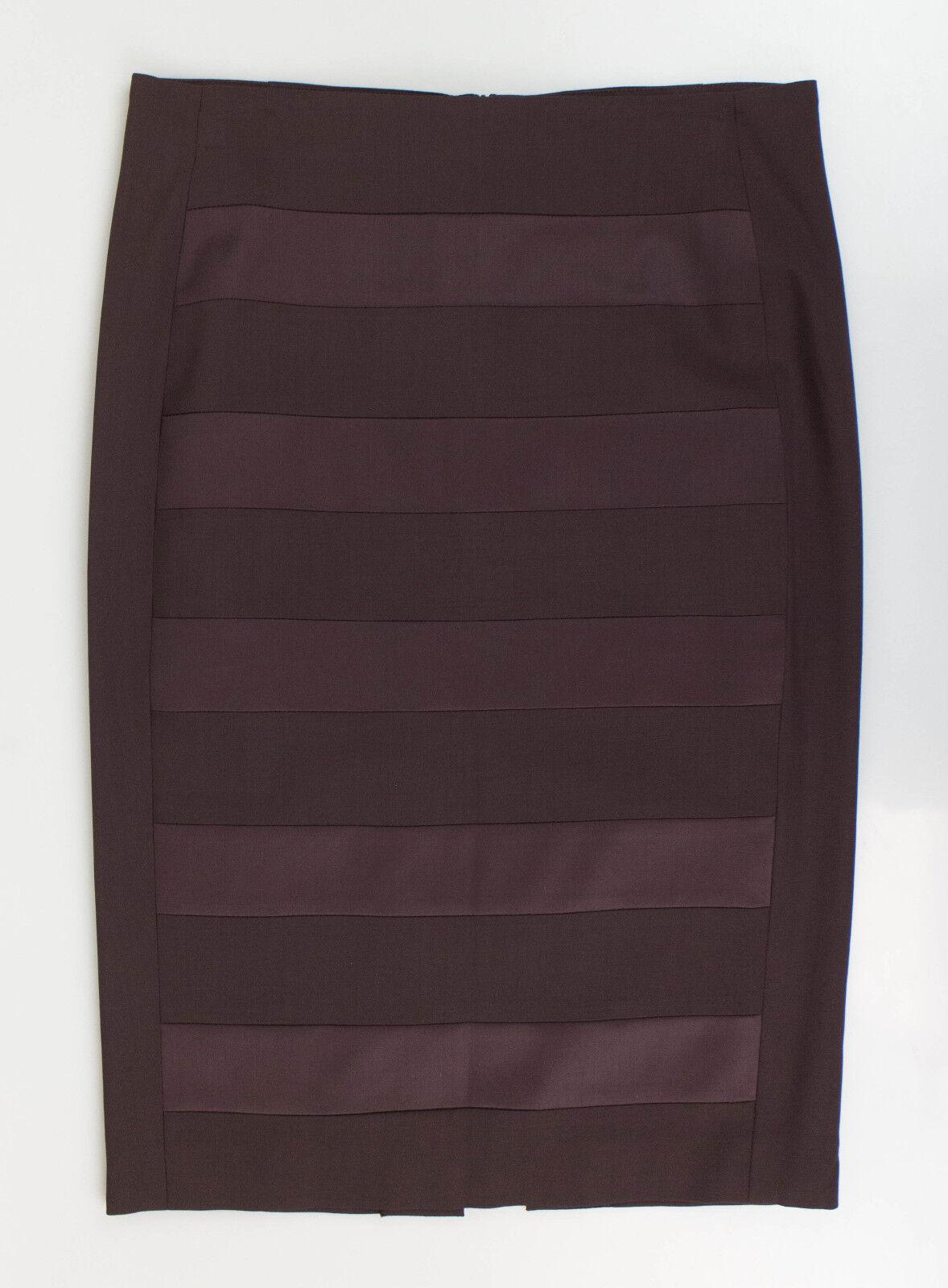 New. BRUNELLO CUCINELLI Brown Wool Blend Pencil Skirt Size 2 38