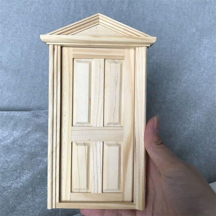 1 12 Dollhouse Miniature Wooden 4 Panel Exterior Door Frame Unpainted Diy