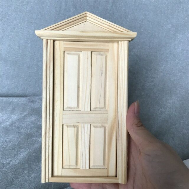 1 12 Dollhouse Miniature Wooden 4-panel Exterior Door Frame ...