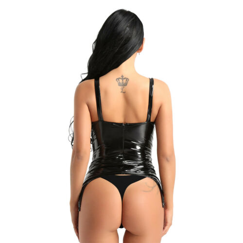 Womens Latex Leather Bodysuit Open Bust Leotard Lingerie Suspenders Clubwear Top