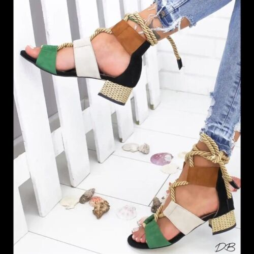 Womens Sandals Bandage Strap Ankle Mid Heels Summer Block Shoes Lace Up Shoes /'