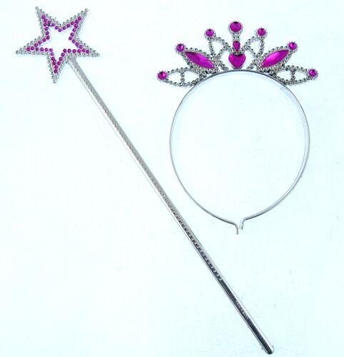 2 Piece Set Gift Pink Princess Queen   Wand with star Tiara Crown  UK