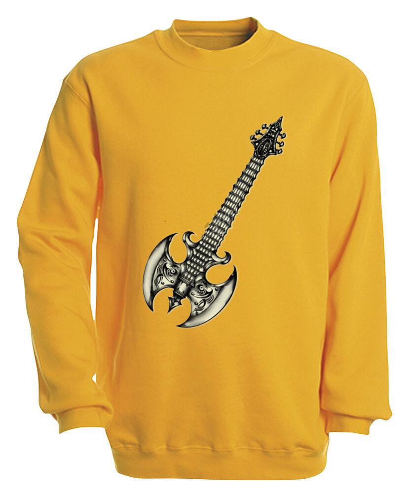 (10252-1 Jaune) Sweat S M L Xl Xxl 3xl 4xl Motif Haut - Métal Guitare