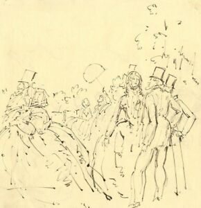 Harold-Hope-Read-High-Life-Garden-Party-Early-20th-century-pen-amp-ink-drawing