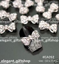 #EA092 10pcs Alloy Jewelry Glitter Rhinestone Bow Knot Nail Art Tips Decoration