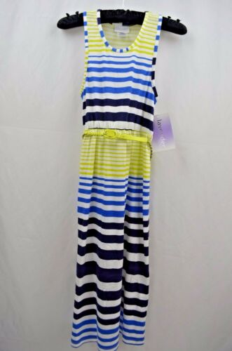 Girls Blue Green Stripes Sleeveless Maxi  Summer Dress Size 4//5,6//6X,10//12