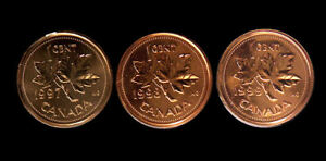 1997-98 and 99  Canada 1 cent coin  Proof-like removed from set