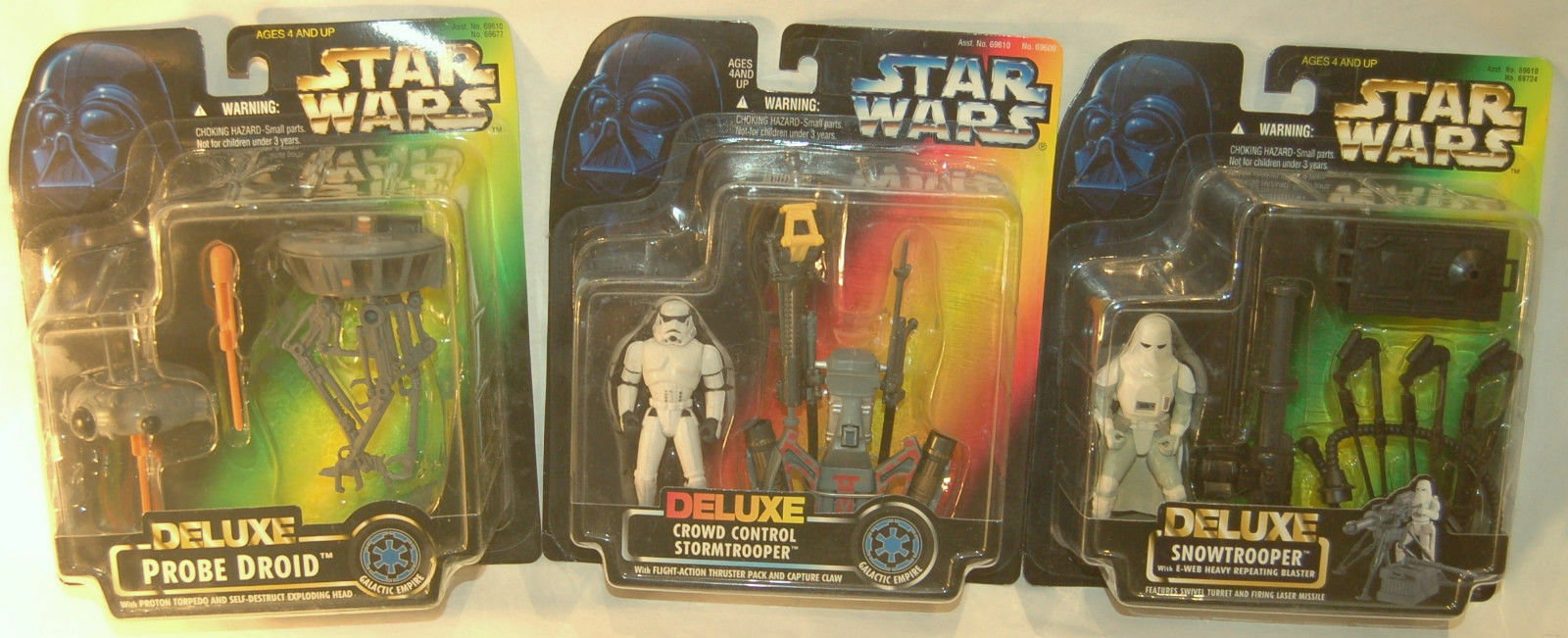 Star Wars Power of Force 1996 Deluxe Probe Droid Stormtrooper Snowtrooper Set