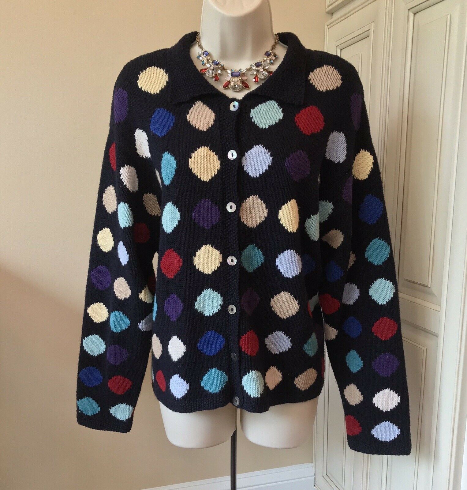 Talbots Hand Knit Long Sleeve Multi color Dots Linen Blend Cardigan  Women's XL