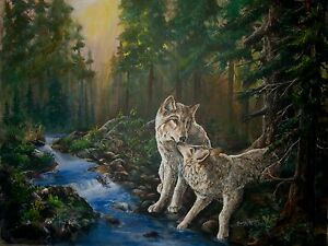 FOREST-MATES-Original-20x24-wolf-wovles-Art-Painting-on-canvas-Sherry-Shipley