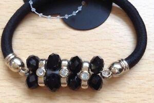 A Black Bead And Diamanté  Hair Band/Bobble