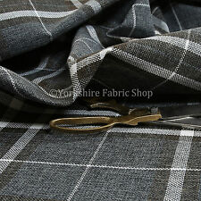 Quality Hard Wearing Plaid Tartan Striped Chenille New Upholstery Fabric In Grey
