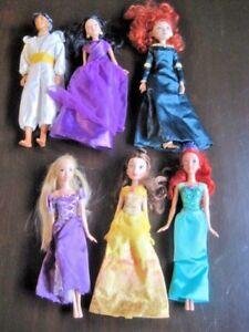 Disney-Princess-Doll-Lot-6-Dressed-Barbie-Prince-amp-Princesses