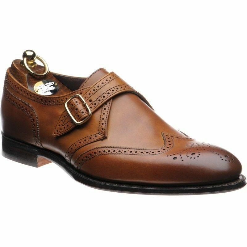 Homme Fait à la main Chaussures en Cuir Marron Richelieu à Moine Bracelet De Bout D'Aile Formal Wear démarrage nouveau