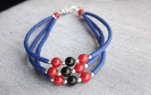 BRACELET Lapis-Lazuli corail rouge et onyx