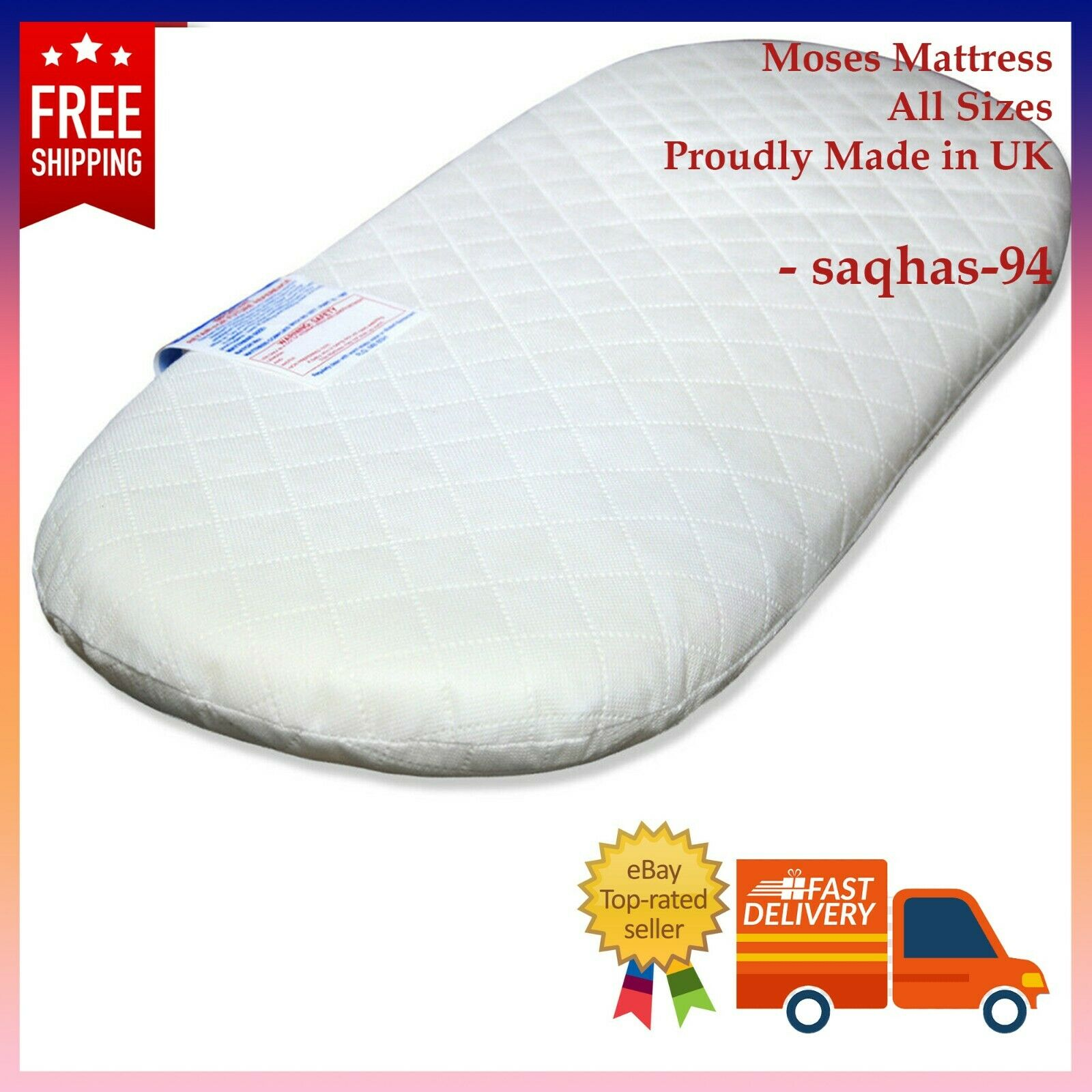Quilted Breatheable Hypoallergenic Moses Pram Basket Mattress Oval Shaped Waterproof Mattress Size 65 X 35 X 3.5 cm