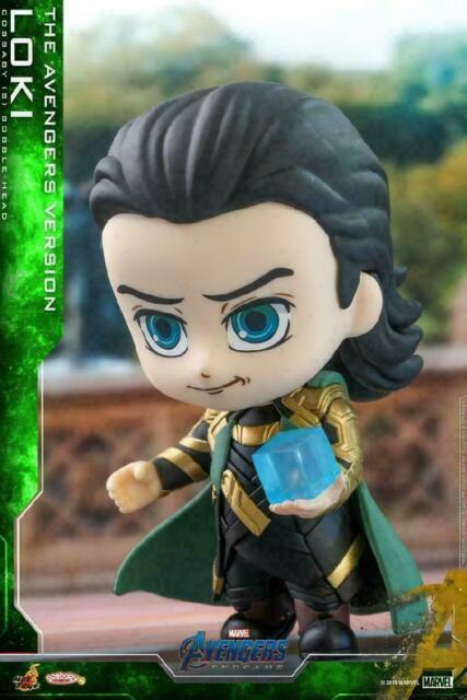 Hot Toys Avengers Endgame Cosbaby Bobble-Head Loki Mind Gem Scepter Figures