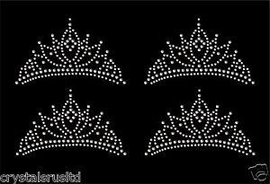 4x-Tiara-Crown-Iron-On-Rhinestone-diamante-Transfer-Crystal-T-shirt-applique