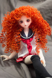 Doll Wig Super Curly Wild Hair Autumn Orange BJD Ball Jointed Doll Size 6-7 8-9