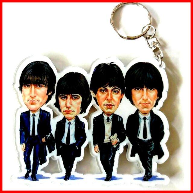 The BEATLES PORTE CLE! LENNON McCARTNEY Caricature Guitare miniature Pop Rock uk