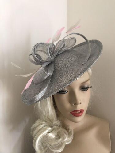 SilverGrey Pink Hatinator Saucer Hat Fascinator Wedding Formal Ladies Disc Races