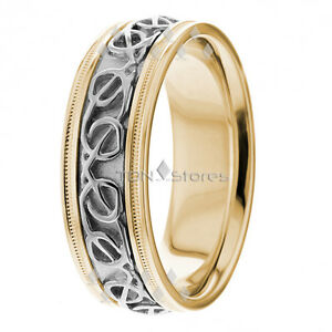 Image Is Loading 10K Gold Celtic Knot Wedding Bands Rings Mens