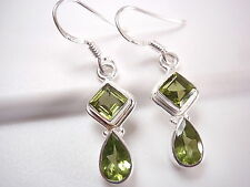 Small Faceted Peridot Double Gem 925 Sterling Silver Dangle Earrings