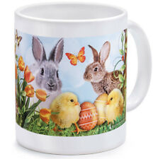 Easter Bunny Mug 10 fl oz Chicken Easter Eggs Butterfly Flowers Spring Decor