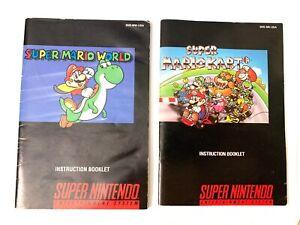 Super Mario World Mario Kart SNES Super Nintendo Instruction MANUAL ONLY No Game