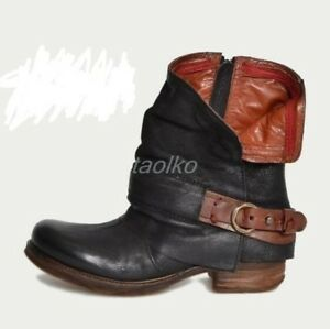 Womens-Ladies-Buckle-Mid-Calf-Biker-Slouch-Ankle-Boots-Low-Chunky-Heels-Shoes-sz