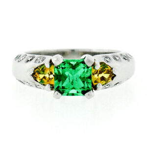 2f75d14782c27 Details about Platinum 2.29ctw Colombian Emerald w/ Yellow Sapphire &  Diamond Engagement Ring