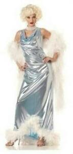 Silver-Screen-Goddess-Marilyn-Lame-Glamour-Gown-Feather-trim-Costume-Medium-8-10