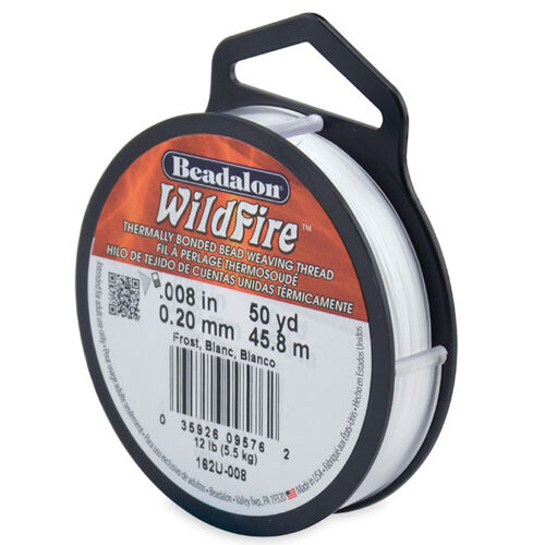 environ 45.72 m Beadalon Wildfire Beading Thread FROST//NOIR .008 in environ 0.02 cm 45 mètres .20 mm 50 Yd