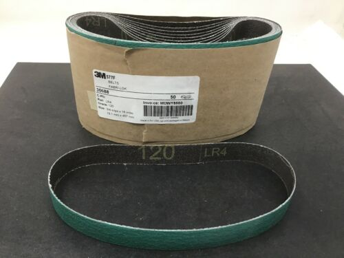 "50 New 3M 30688 577F 3//4/""X18/"" 120 Grit Cloth Sandpaper Belt Dynabrade Free Ship"